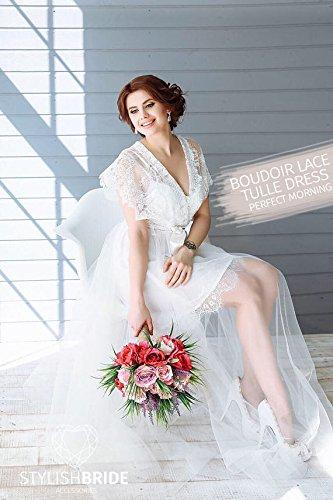 (Boudoir Lace Tulle Dress, Bridal Robe Lace, Tulle boudoir gown, boudoir lace gown, Embroidered Lace Bridal Robe, Lace luxury robe)