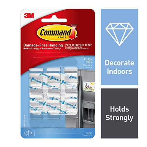 Command Fridge Clips, Decorate Damage-Free, 6 clips, 8 strips (17210CLR)
