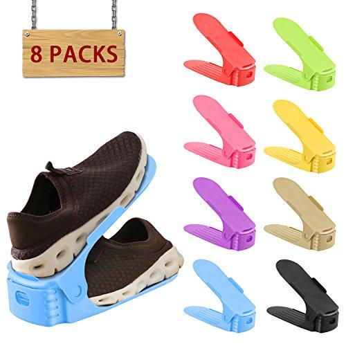 8 PACK HOBFU Shoe Slots 3 Step Adjustable Space Saver Organizer, Adjustable Shoe Slots, Storage Rack Holder closet Organizer Space Saver (Space Saver Organizers)