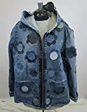 Hooded Denim Jacket Large with Floral Applique
