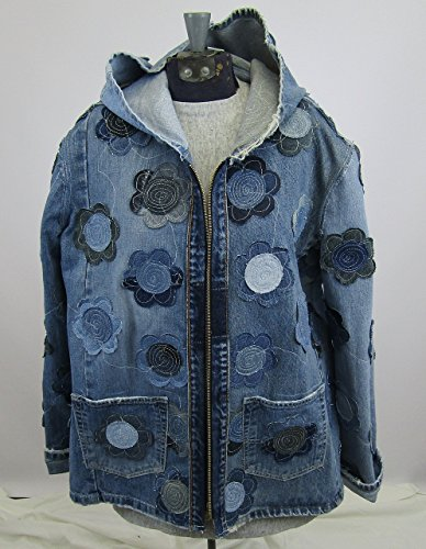 Hooded Denim Jacket Large with Floral Applique by Recycled Seams