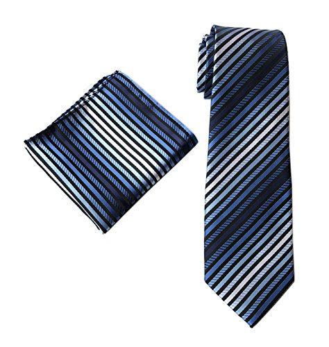 Men's Stripe Blue Black White Jacquard Woven Ties Set Necktie with Pocket Square - Fancy Striped Pocket Dress Shirt