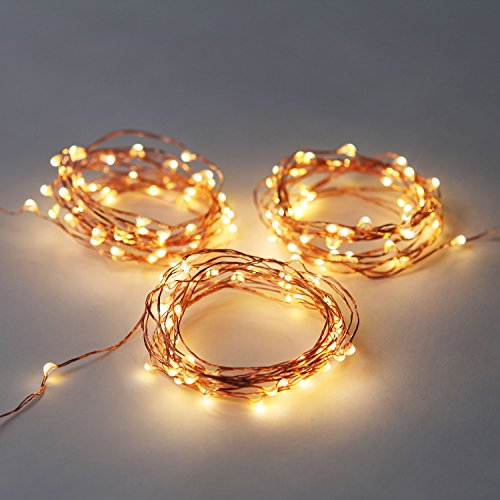 LampLust 12 ft. Copper Wire Fairy Lights with 60 Warm White LEDs, 3 Sets, Battery Operated, Water Resistant, Indoor/Outdoor (Vine 12 Light)