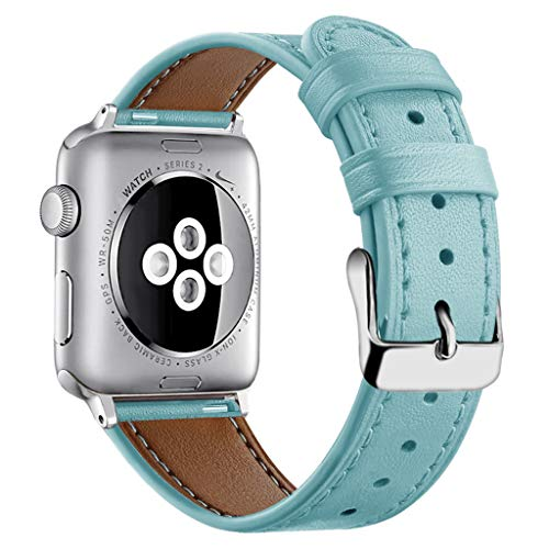 Quick Release Watch Band Replacement for Apple Watch Series 1/2/3/4 38/40mm Deluxe Leather Denim Bracelet Watch Strap ()