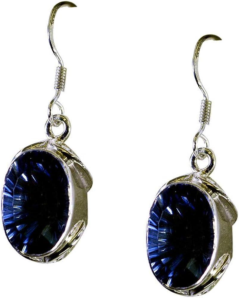 Azul Mystic cuarzo pendientes para las mujeres y las niñas regalo bisutería plata de ley largo gancho ovalado forma