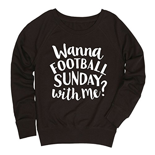 Ladies Wanna Football Sunday with Me Slouchy Pullover, Black -