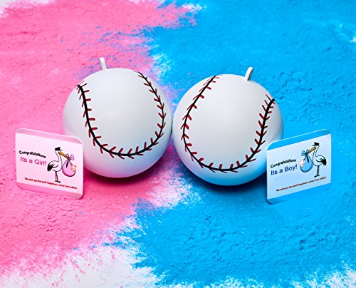 2 Gender Reveal Baseballs includes Pink and Blue Powder Sex Reveal Party  Team Pink Girl and Team Blue Boy  FamilyFun Authentic Products
