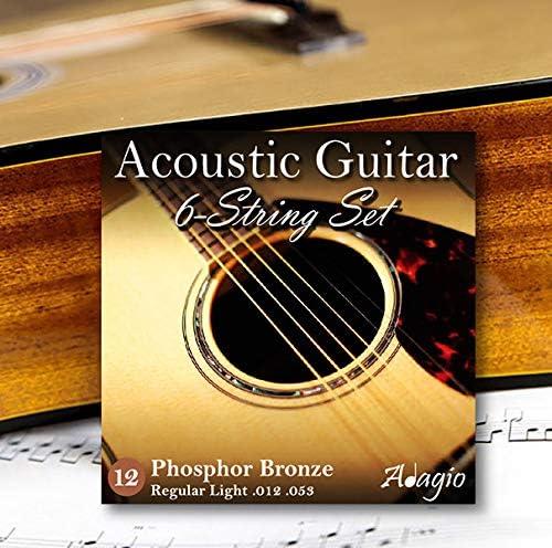 ADAGIO PRO - Juego de 2 cuerdas para guitarra acústica (calibre 12 – 53, bronce fosforado, también apto como cuerdas electroacústicas y cuerdas de guitarra semiacústica)
