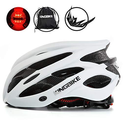 KINGBIKE Adult Bike Helmet Ultralight with Bicycle Helmets Portable Bag and Safety Rear Led Light Visor for Men Women Cycling Cycle Biking Road Bike Helmets (White, L/XL(60-63CM)) (61cm Road Bike)