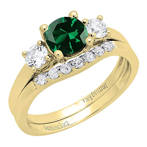 Dazzlingrock Collection 10K 6 MM Lab Created Emerald, White Sapphire & Diamond Ladies Ring Set, Yellow Gold, Size 7