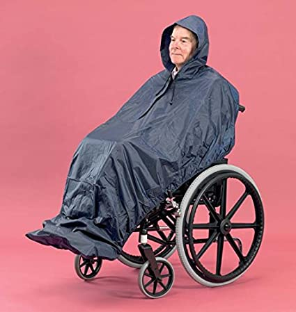 PD Care - Chubasquero para personas en sillas de ruedas (sin mangas, extralargo)