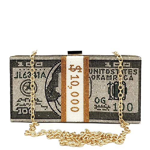 Stack of Cash Clutch Purses Women Crystal Evening Bags Designer Rhinestones Handbags