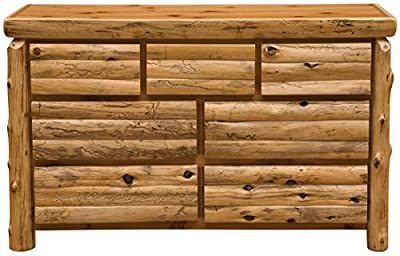 Fireside Lodge Furniture 12052-V Cedar Seven Drawer Dresser with Half Log Drawer, Value Line, Traditional Cedar