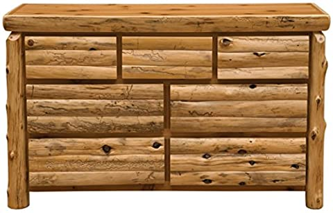 Fireside Lodge Furniture 12052-P Cedar Seven Drawer Dresser with Half Log Drawer, Premium Line, Traditional - Log Seven Drawer Dresser