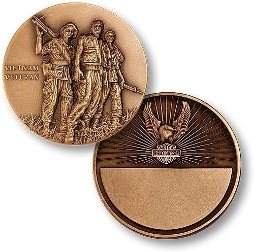 (Vietnam Veteran, Harley-Davidson Engravable Bronze Antique Coin)