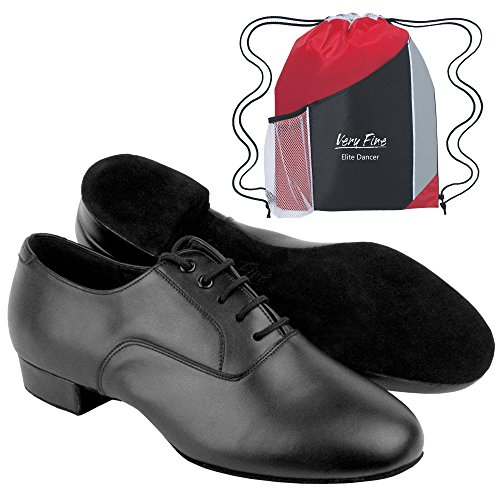 C919101 Men's Ballroom Dance Shoes in Black Leather by Very Fine (Elite Bundle with Shoebag) Size 9.5US