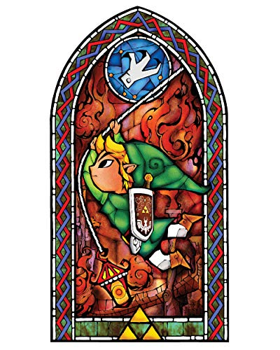BLIK Zelda Wind Waker Grappling Hook Stained Glass Removable Wall Decal | Officially Licensed Nintendo Art | Easy Peel and Stick Design | 22.5 x 42.5 Inches