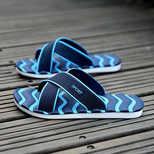 zapatillas verano sandalias y Flops MONAcwe tamaño hombres 40 Flip Sandalias Azul transpirable antideslizante diaria Casual para Inicio de zapatillas oscuro gran sandalias hombres 6FqwYtgw