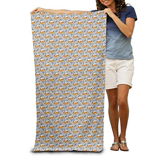 LLuotryce Halloween Trailers and Flamingos Adults Cotton Beach Towel31.5 X51 -