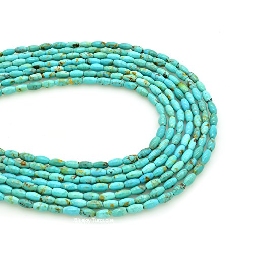 Bluejoy Genuine Natural American Turquoise Barrel Bead 16 inch Strand for Jewelry Making (3x6mm)