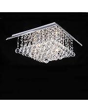 A1A9 Vierkante kristallen kroonluchter, moderne glazen druppels plafondlamp hanglamp, inbouw LED kroonluchter voor eetkamer, slaapkamer, woonkamer, kantoor, grootte: L38cm B38cm H23cm