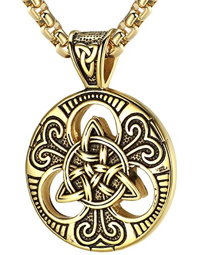 (LineAve Men's Stainless Steel Celtic Trinity Knot Triquetra Pendant Necklace, 23 + 2