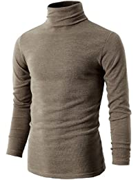 Mens Casual Basic Knitted Turtleneck Slim Fit Pullover Thermal Sweaters