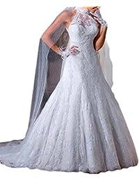 Vintage Inspired Vestidos de novia High Neck Sheer Lace Birdal Wedding Dresses For Women M0301