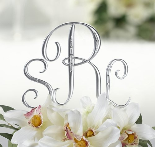 Silver Monogram Wedding Cake Toppers Initials with Rhinestone - Set of 3