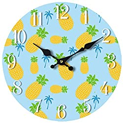 Wall Clock Glass Pineapple Pattern Decorative 13 Inch Theme Perfect for Kitchen Bathroom Office Rustic Battery Operated Clocks Great Theme for Bedroom Cute Decoration Ticking Fruit