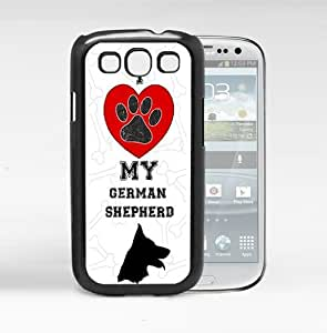 I Love My German Shepherd With Red Heart Black And White Background Hard Snap On cell Phone Case Cover (Samsung Galaxy S3 I9300)