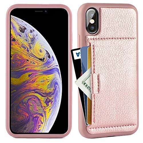 ZVE Case for Apple iPhone Xs and X, 5.8 inch, Wallet Case with Credit Card Holder Slot Slim Leather Pocket Protective Case Cover for Apple iPhone Xs and X 5.8 inch (Aries Series)- Rose Gold