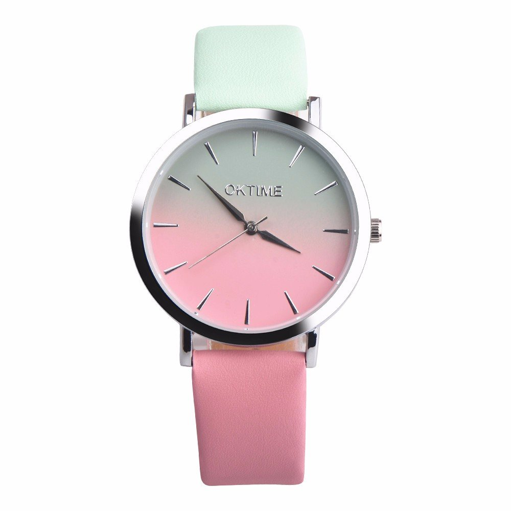 Women's Watches,Yamally Women Retro Rainbow Design Leather Band Analog Alloy Quartz Wrist Watch On