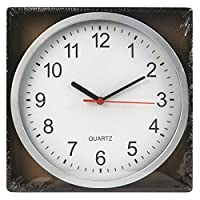 """REAL ACCESSORIES® Large Silver Round Stylish Modern Wall Clock. Easy Readable Big Numbers. Ideal for Any Room in Home 