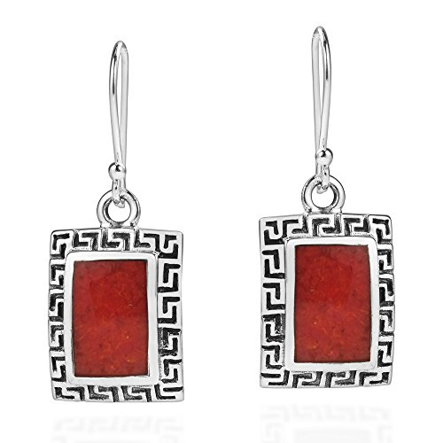 - Reconstructed Red Coral Greek Key Frame .925 Sterling Silver Dangle Earrings