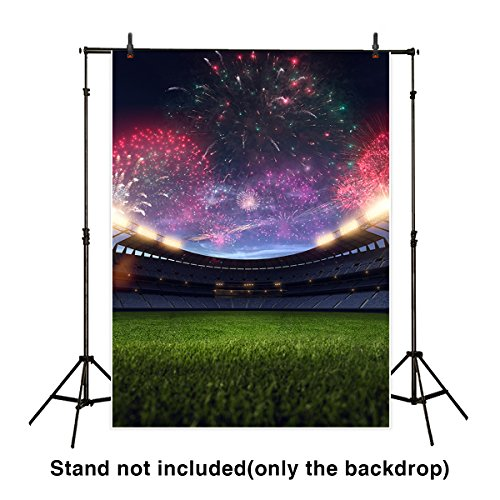 Funnytree 5X7ft Microfiber Super Bowl Backdrop Fireworks Above The Sport Studium New Year Night Background For Photography Or Decoration