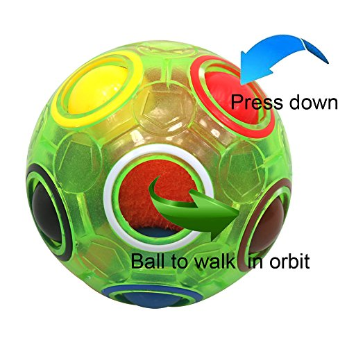 (FC MXBB 2.5 inchesFidget Ball Intelligence Rainbow Magic Ball Cube 3D Puzzle Football Design Fidget Toy Green)