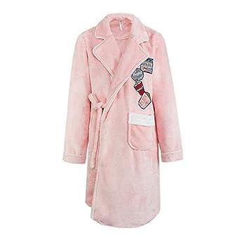 Albornoz Nan Liang 100% algodón Ropa de Dormir Gruesas lujosas Batas de baño Dulce y Encantadora Bata cálida y acogedora túnica (Tamaño : L): Amazon.es: ...