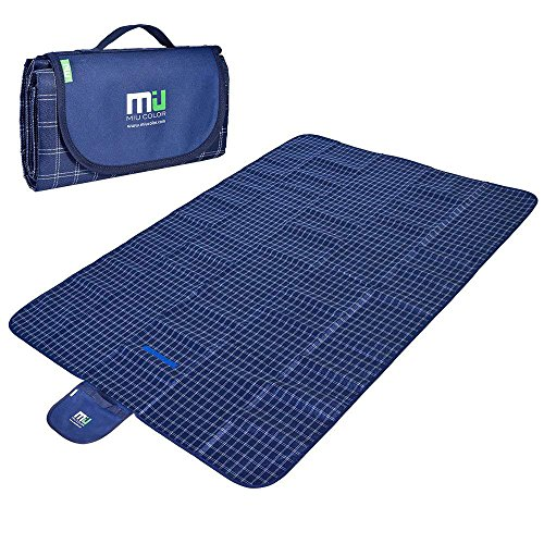 MIU COLOR Large Waterproof Outdoor Picnic Blanket, Sandproof and Waterproof Picnic Blanket Tote for Camping Hiking Grass Travelling Dual/Triple (Layer Matt)