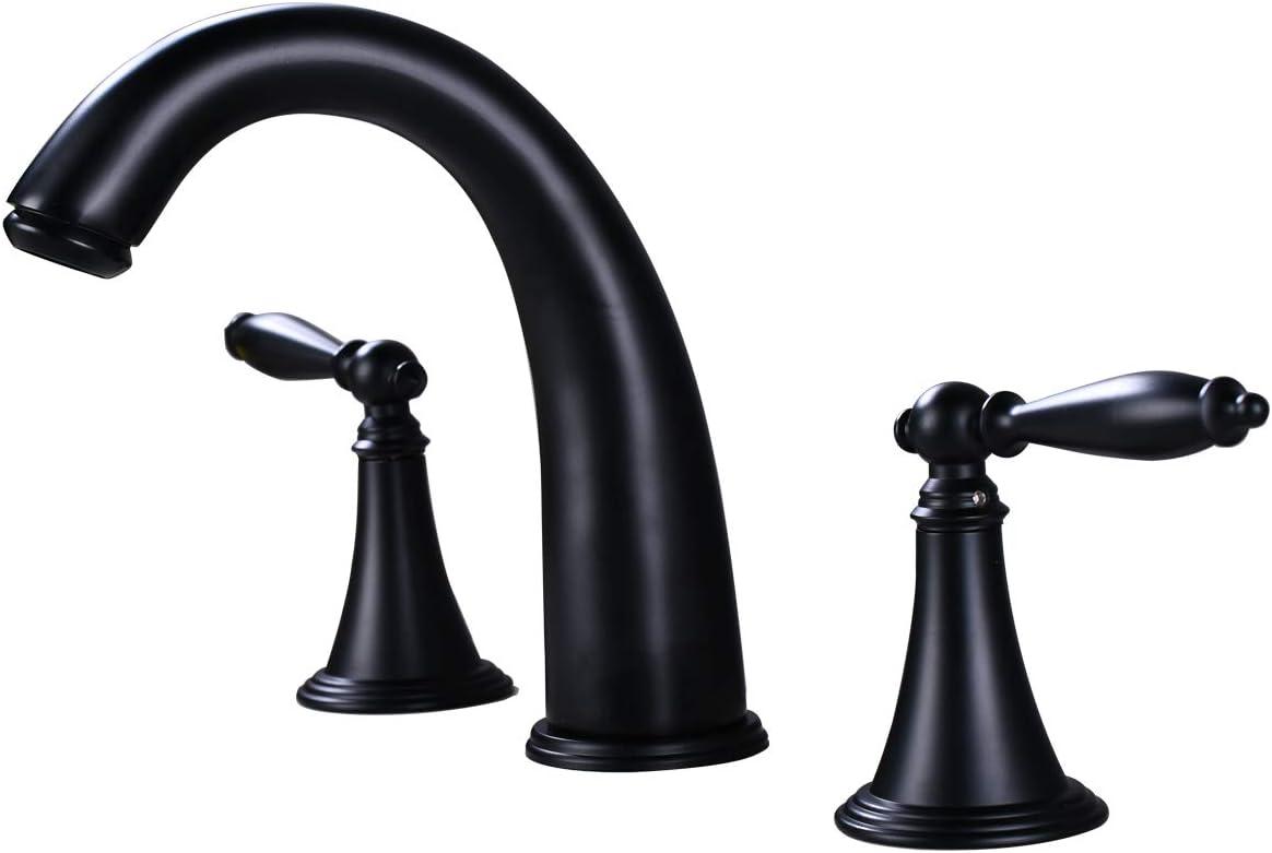 Widespread Bathroom Sink Faucet Black Bath Tub Garden 8-16 inch 2 Handles 3 Holes Commercial Lavatory Faucets Modern Contemporary Basin Mixer Tap