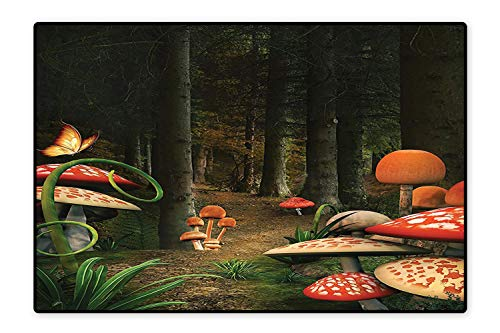 (Printed Floor Rugs Deep Dark Forest Fantasy Nature Theme Earth Path Mystical Image Pomegranate Green Brown Bath mat Non Slip Absorbent 6'x7')