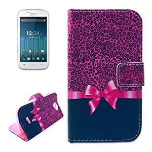 Leopard Texture Bowknot Pattern Horizontal Flip Magnetic Buckle Leather Case with Card Slots & Wallet & Holder for Blu advance 4.0