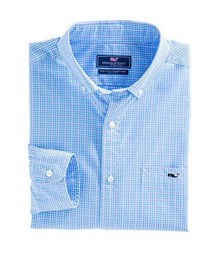 Vineyard Vines Men's stowaway Plaid Classic Tucker Shirt (Ocean Breeze, (Stowaway Barrel)