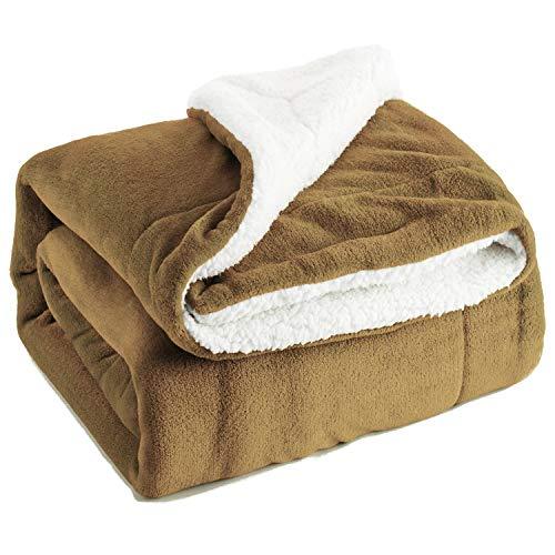 Bedsure Sherpa Fleece Blanket Throw Size Camel Plush Throw Blanket Fuzzy Soft Blanket Microfiber