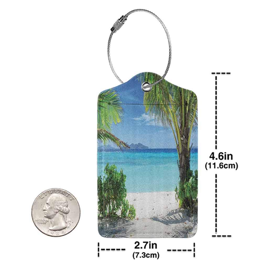 Personalized luggage tag Tropical Plants Seaside Decor For Summer House dyllic Sunlights Tranquil Ocean Resort Beach Easy to carry W2.7 x L4.6