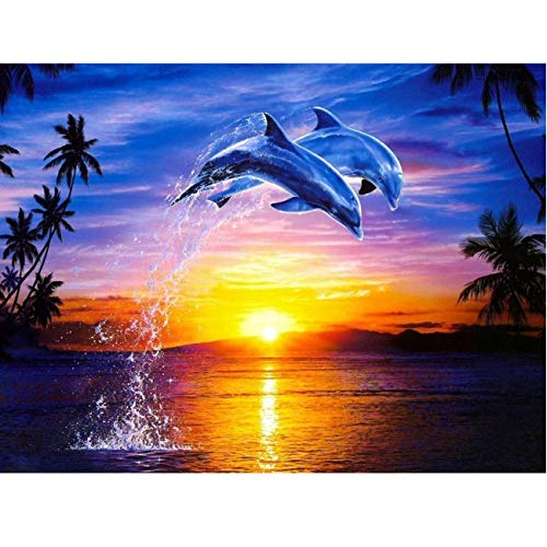 Diamond Painting Kits for Adults, Full Drill Jumping Dolphins Rhinestone Embroidery Cross Stitch Pictures Arts Craft Home Wall Decor 11.8x15.8 inch