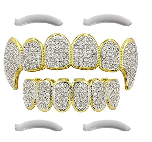 (24K Plated Gold Grillz for Mouth Top Bottom Hip Hop Teeth Grills for Teeth Mouth + 2 Extra Molding Bars, Storage Case + Microfiber Cloth (Micropave Diamonds Fangs))