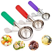 Ice Cream Scoops, Cookie Scoop Set of 3, Cake Trigger Cookie Scoop Set Stainless Steel Spoon Scoopers Gift for Kids & Families - Elegant Gift Package