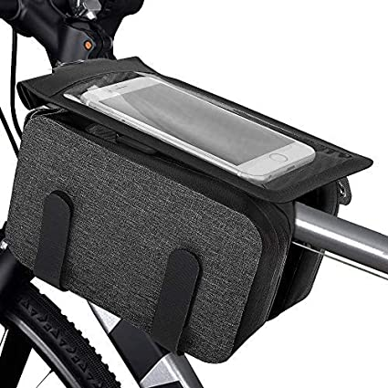 Amazon Com Moko Bike Front Frame Bag Bicycle Top Tube Bag Bike Phone Mount Bicycle Waterproof Phone Dry Bag With Touch Screen Cycling Pack Bike Pack Accessories For Bike For Mountain Road