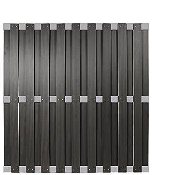 Wpc Sichtschutzzaun Malmo 180x180 Cm Anthrazit Mit Aluminium